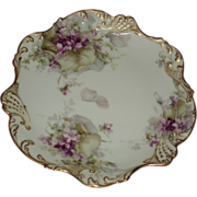 George Leykauf Signed Antique French Limoges Violets Cabinet Plate