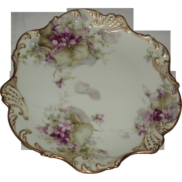 George Leykauf Signed Antique French Limoges Violets Cabinet Plate