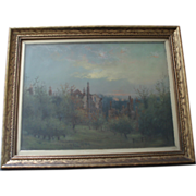19TH Century Antique French Landscape Painting Signed and Dated 1889