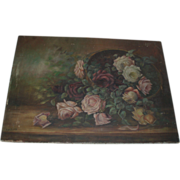 Breathtaking Antique Roses Oil Painting, Signed