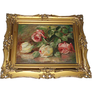 Stunning Antique Roses Oil Painting, Signed - Red Tag Sale Item