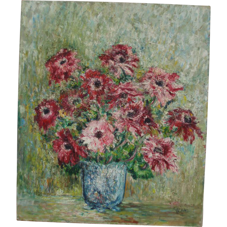 Bold Vintage Floral Still Life Oil Painting, Signed M. Lioni