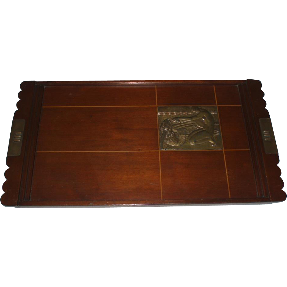 french art deco wood tray with metal plaque of nude woman and fish sold on ruby lane. Black Bedroom Furniture Sets. Home Design Ideas
