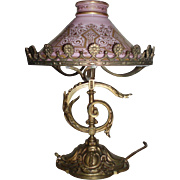 Magnificent Art Nouveau Bronze Table Lamp With Original Glass Shade