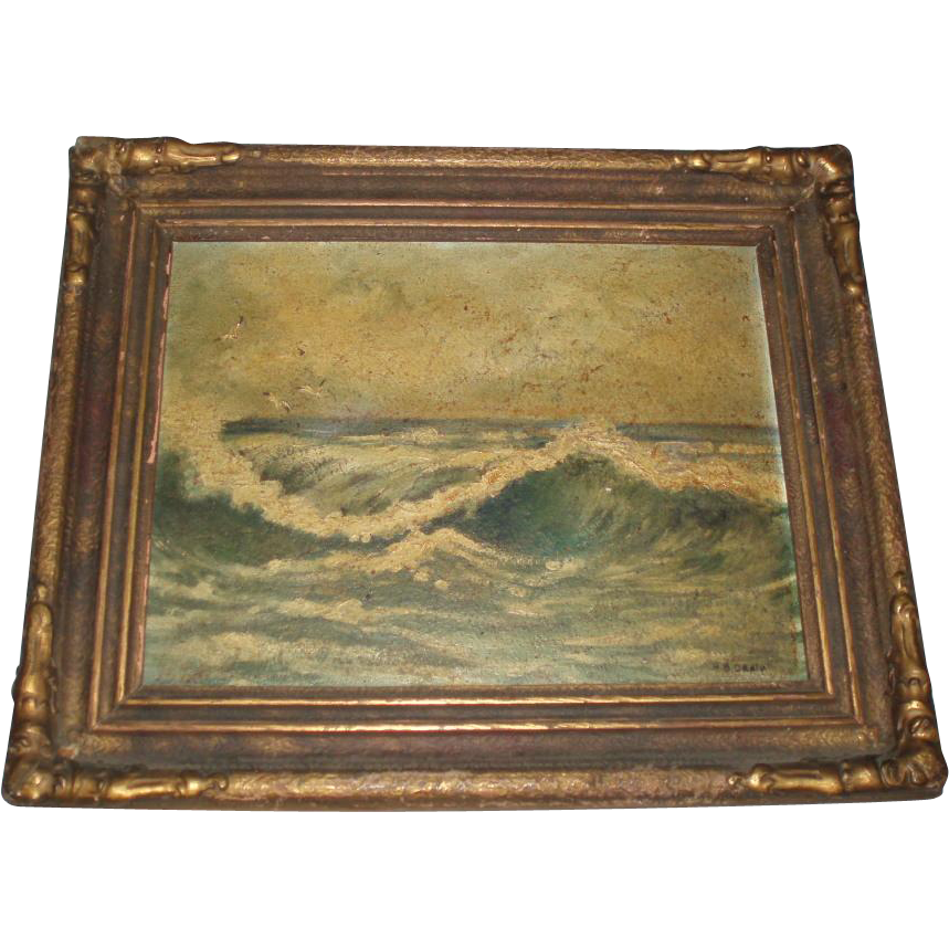 Antique Seascape Oil Painting of Waves, Signed