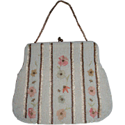Vintage Micro Beaded Purse With Embroidery, Bag By Josef, Hand Made in Belgium