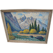 Large Vintage Mid-Century Oil Painting