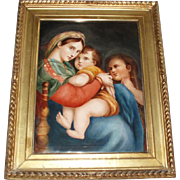 Circa 1800's Antique French Limoges Oil Painting on Porcelain Plaque Madonna of the Chair or Madonna Della Seggiola