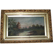 Antique Landscape Oil Painting in Original Gesso Frame