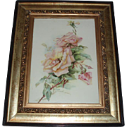 Stunning Antique French Limoges Porcelain Plaque of Pink Roses, Circa 1890's, In Original Gilded Frame