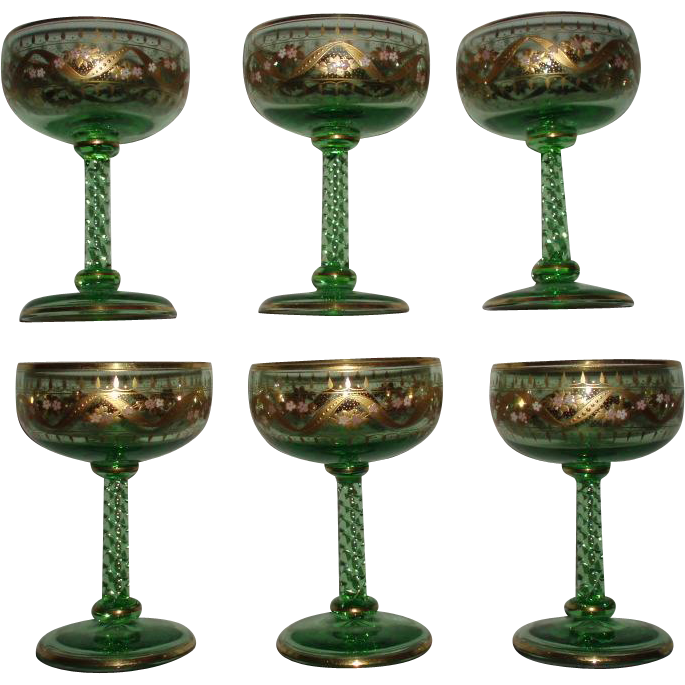 Antique Bohemian Set of 6 Moser Fine Quality Gold Etched Enameled Green Glass Goblets