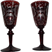 Beautiful Pair of Antique Bohemian Red Glass Goblets