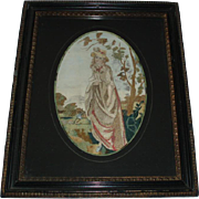 Early 19th Century Antique Georgian Silk Stumpwork Embroidery Painting