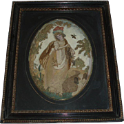Early 19th Century Antique Georgian Silk Stumpwork Embroidery Painting - Red Tag Sale Item