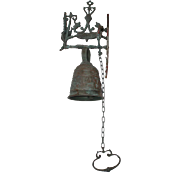 Vintage Ornate Iron Bell With Griffon, Dolphins, Cat, Dog