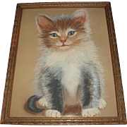 Vintage Kitten Cat Painting