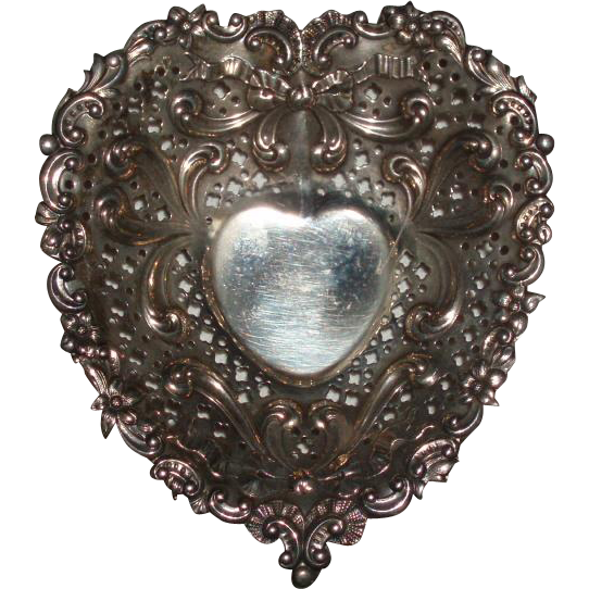 Antique Gorham Sterling Silver Repousse Heart Footed Dish