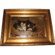 Antique Oil Painting of Kittens Cats