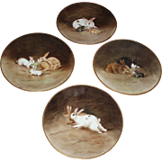 Incredible Quality Antique French Limoges Porcelain Hand Painted Bunny Charger Plate Set