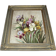 Magnificent Large Antique Still Life Oil Painting of Irises