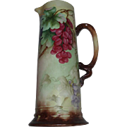 Gorgeous Large Antique French Limoges Porcelain Pitcher Tankard With Hand Painted Grapes