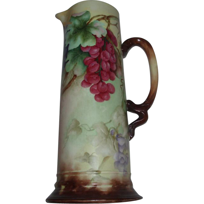 SALE PENDING - Gorgeous Large Antique French Limoges Porcelain Pitcher Tankard With Hand Painted Grapes