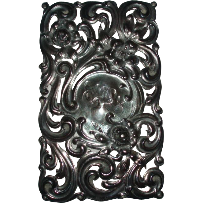 Antique Sterling Silver Ornate Repousse Plaque With Roses and Scrolls