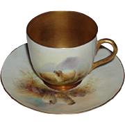 Antique Royal Worcester England E. Barker Signed Cup and Saucer, Hand Painted Sheep