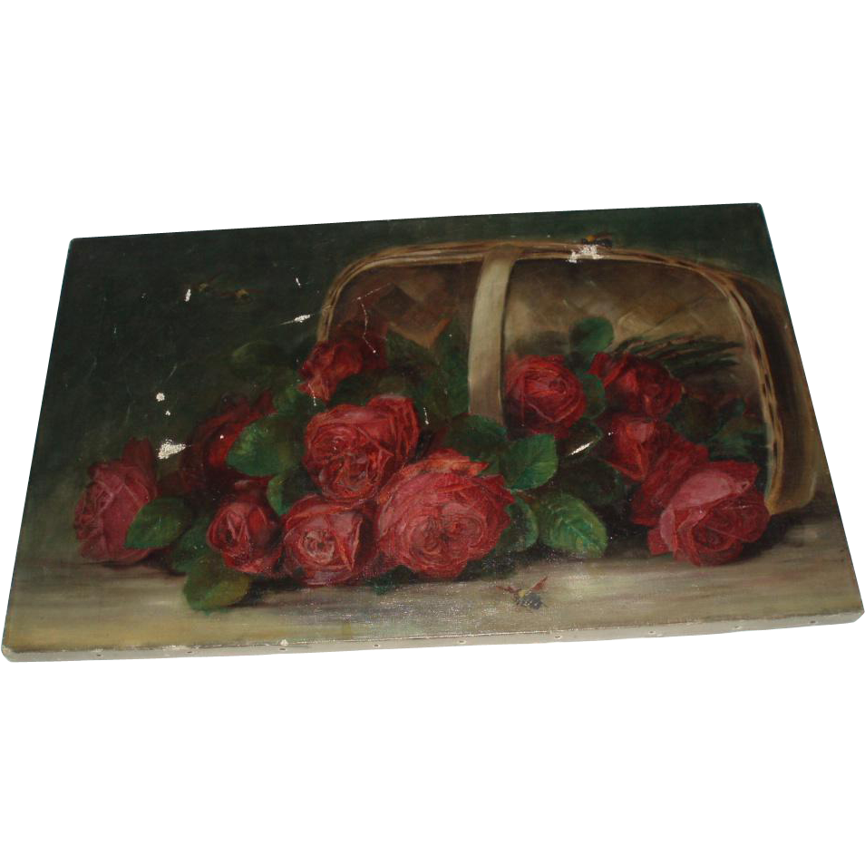 Beautiful Antique Roses Oil on Canvas Painting With Bees