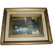 Old Swans Oil Painting, FS Rousseau