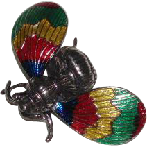 Vintage Beau Sterling Silver Bumble Bee Pin Brooch With Enameled Wings