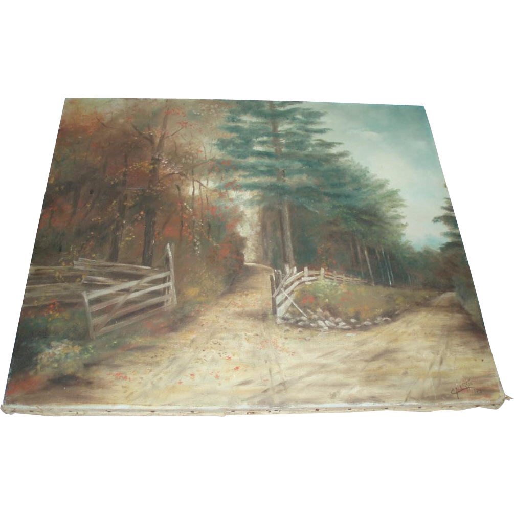 Beautiful Old Woodland Landscape Oil Painting 1928