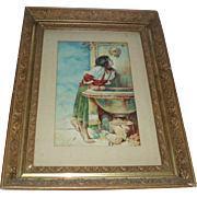 Beautiful Antique Watercolor Painting of Ruth at the Well Signed