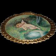 Gorgeous Antique French Limoges Cherub Plaque, Signed