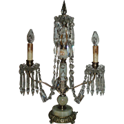 Gorgeous Antique Girandole With Glass Crystals and Stone Base