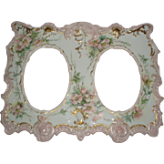 Antique French Limoges Porcelain Double Picture Frame With Handpainted Florals