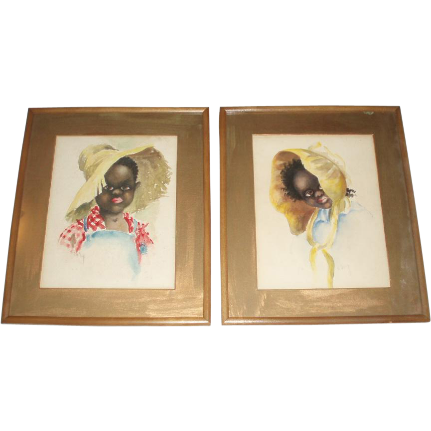 Pair Black Children Folk Art Paintings, Signed Foley