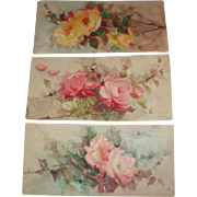 Set of Three Gorgeous Vintage Roses Watercolors