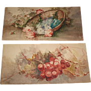 Beautiful Pair of Two Vintage Watercolors of a Basket of Roses and Grapes