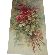 Antique Roses Watercolor Painting, Signed Daugherty