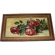 W. Stott 1894 Antique Still Life Roses Oil Painting on Canvas