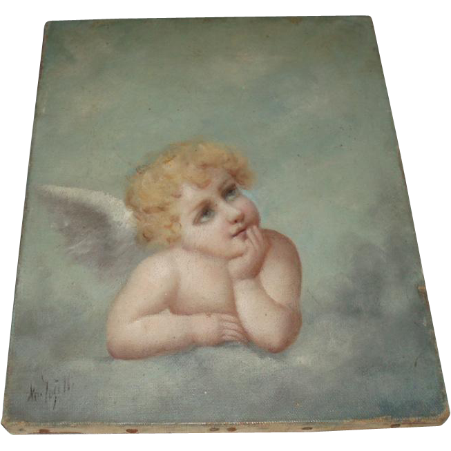 Virgilio Tojetti 19th Century Oil Painting of a Cherub