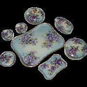 Most Beautiful Antique Hand Painted Violets Limoges Porcelain Dresser Set, 13 Pcs