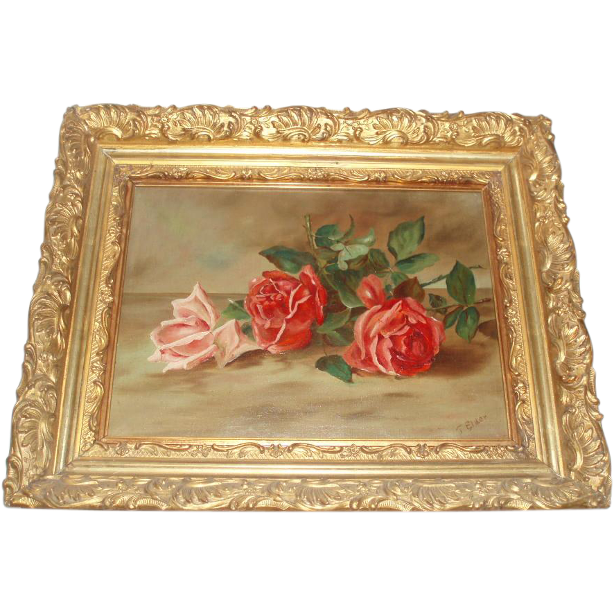 J. Elder Antique Roses Oil Painting in Magnificent Frame