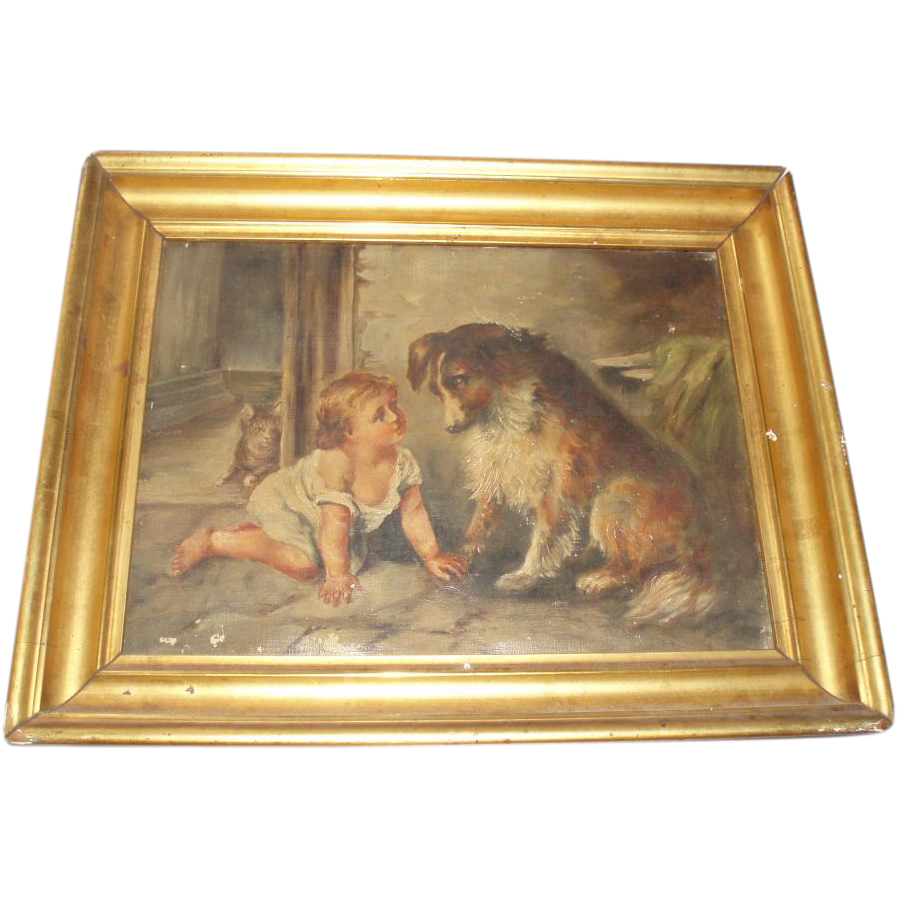 Charming Antique Dog And Cat Oil Painting With Baby From