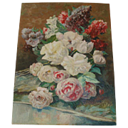 Beautiful Vintage Roses Floral Still Life Oil Painting