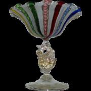 Stunning Antique Venetian Murano Glass Swan Pedestal Bowl Salviati Italy