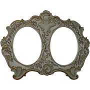 Antique French Limoges Porcelain Double Picture Frame Circa 1895