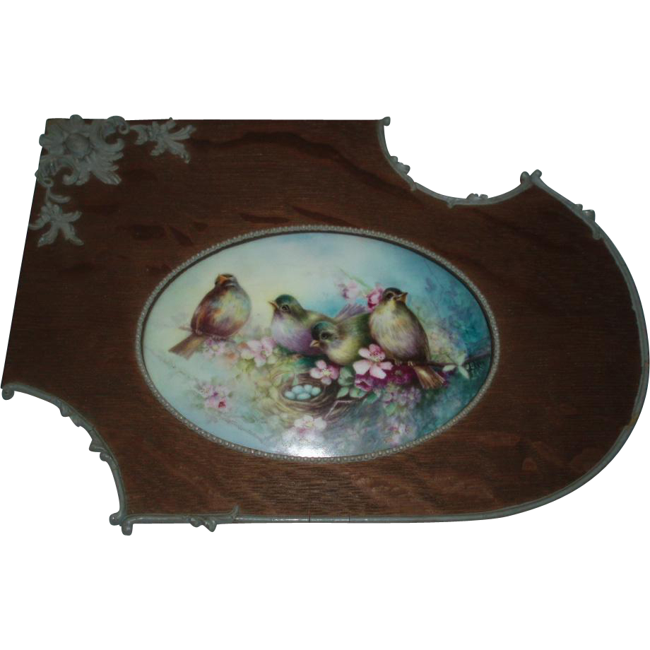 Beautiful Antique Porcelain Plaque Painting of Birds and Robin's Egg Nest Signed