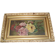 Beautiful Antique Roses Oil Painting With Bees